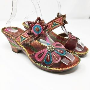 Elite by Corky's Jamaican Leather Heeled Sandal